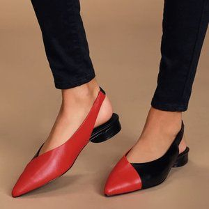 Black and Red Leather Pointed-Toe Slingback Flats